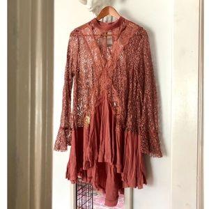 Free People Blush Lace Dress Sz L